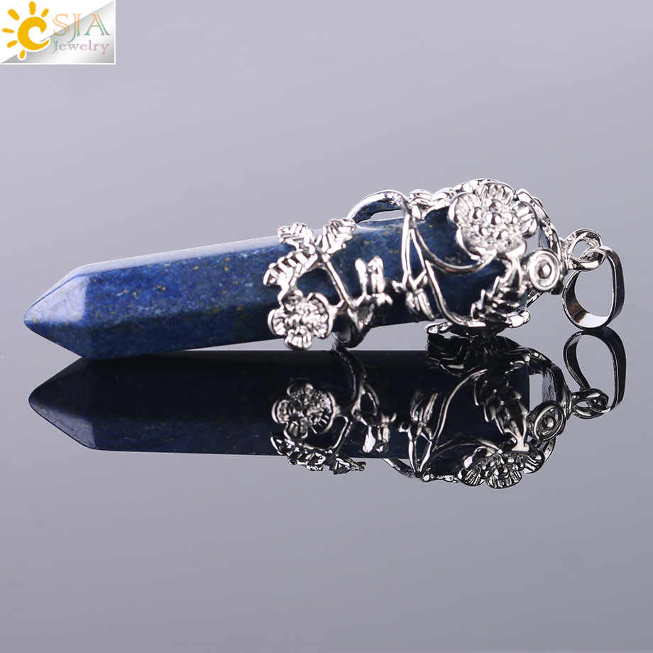CSJA Ethnic Tribe Totem Necklace Pendant Big Size Natural Gems Stone Hexagonal Prism Suspension Crystal Jewelry Pendants F430