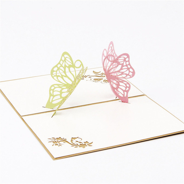 3D Laser Cut Handmade Carving Two Butterfly Paper Invitation