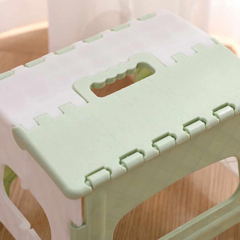 พลาสติกสตูลพับอเนกประสงค์แบบพกพาพับรถไฟเดินทางกลางแจ้งทนทานสตูลบ้านห้องครัวโรงรถสีเขียว/สีชมพู