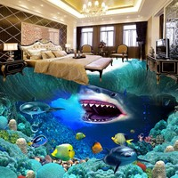 Free Shipping Custom Living Room Bathroom Home Decoration Self adhesive Wallpaper Floor Underwater World 3D Painting Roll