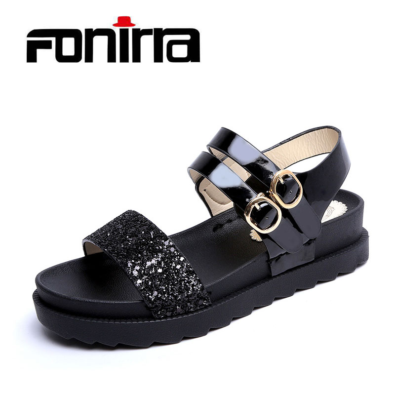 Summer Casual Sweet Sandals Women Solid Ankle Strap Flat Sandals For Ladies Fashion Concise Sandals Women FONIRRA 185 women sandals fashion straw shoes woman summer wedges sandals ankle strap casual ladies flat sandals