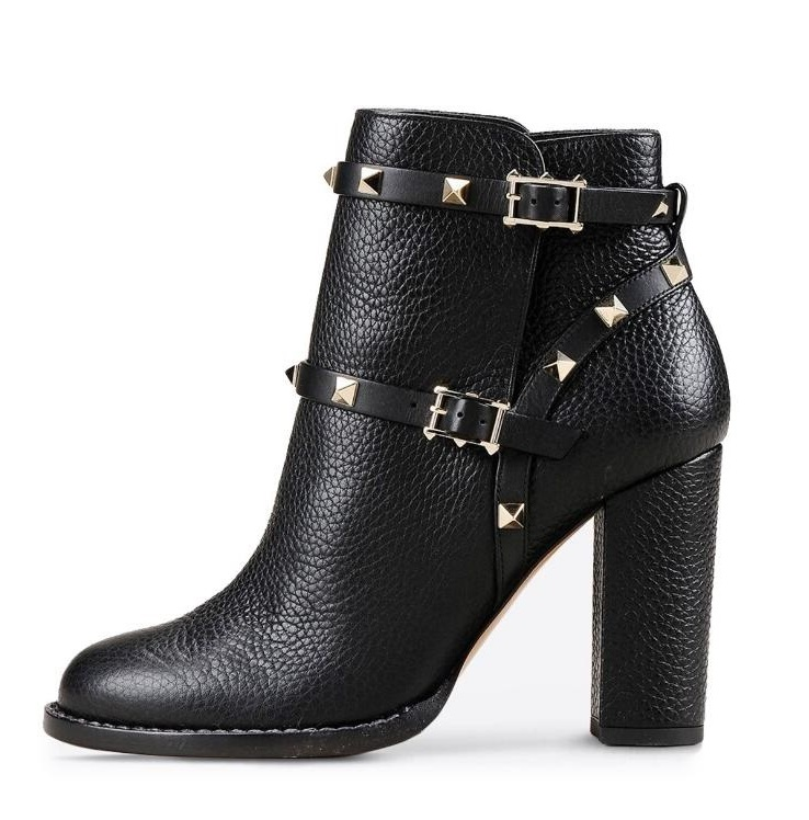 Classic Rivet Rubber Boots Women Black Leather Buckle Studded Square Heels Ankle Chelsea Autumen Ridding Boot