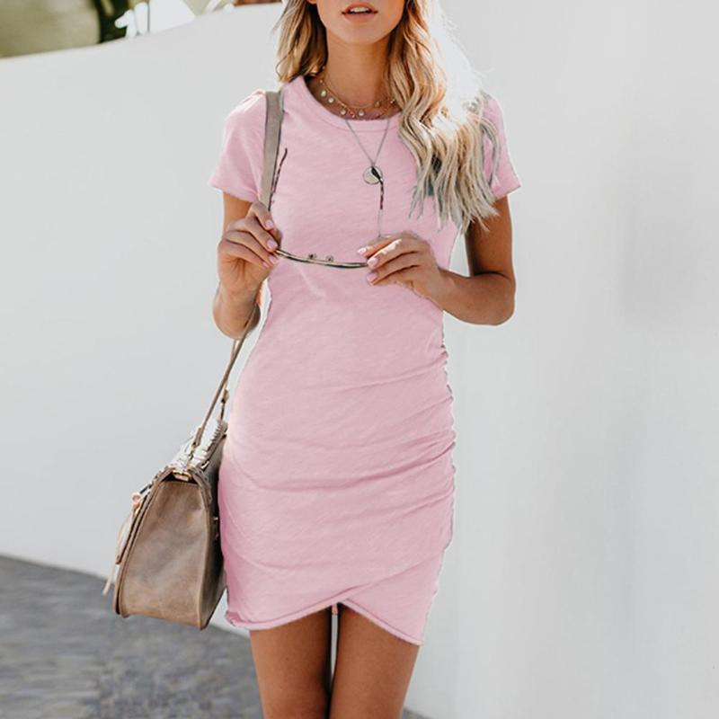 Women Short Sleeve Solid Color <font><b>Dress</b></font> <font><b>2018</b></font> Summer <font><b>Sexy</b></font> Bodycon Ladies Elegant O Neck Office <font><b>Work</b></font> <font><b>Dresses</b></font> Pencil Bodycon <font><b>Dress</b></font> image