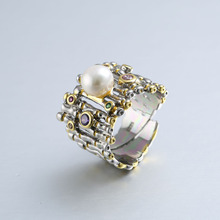 New Fashion 925 Sterling Silver Baroque Pearl Rings Adjustable Natural Cubic Zirconia Stone For Women Wedding Party Gift