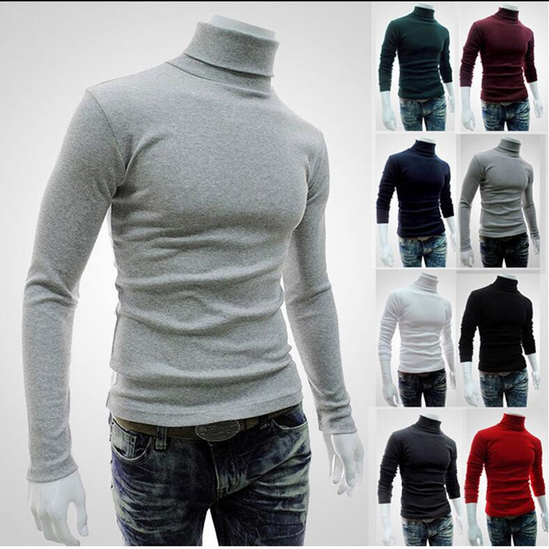 Men's Sweater Pullovers Slim-Fit Knitted Autumn Winter Brand New Casual Turtleneck Solid