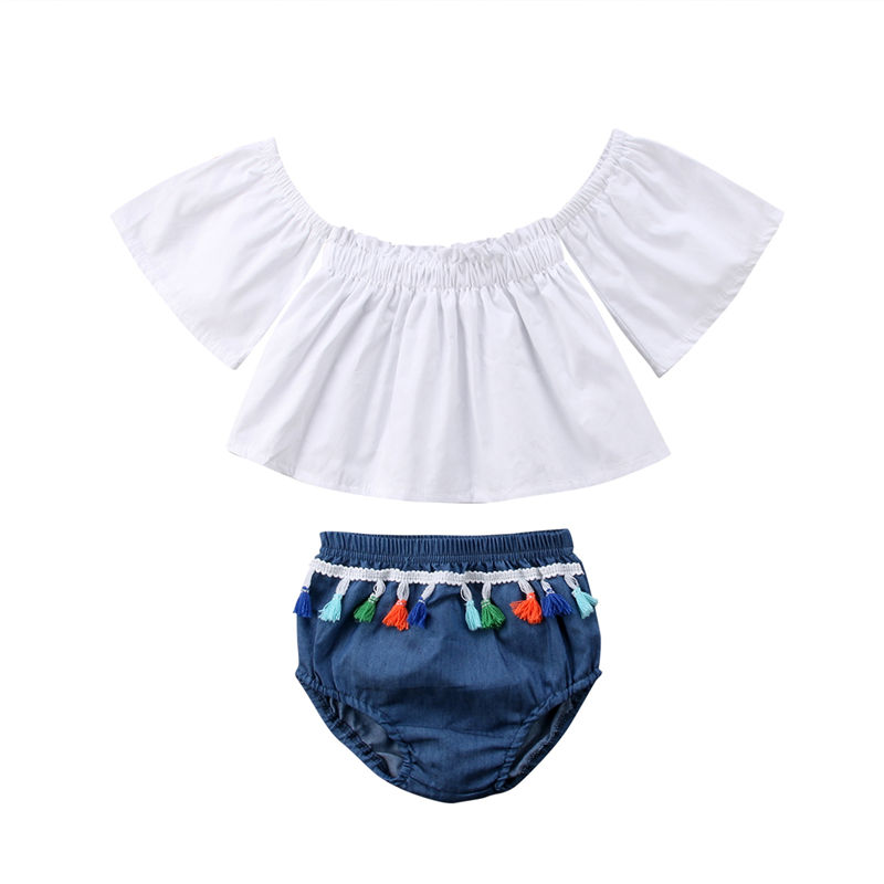 Summer Toddler Baby Girls Off Shoulder Tops Shorts 2Pcs Clothing Set Babies Girl Outfits Clothes Sets 2019 in Clothing Sets from Mother Kids