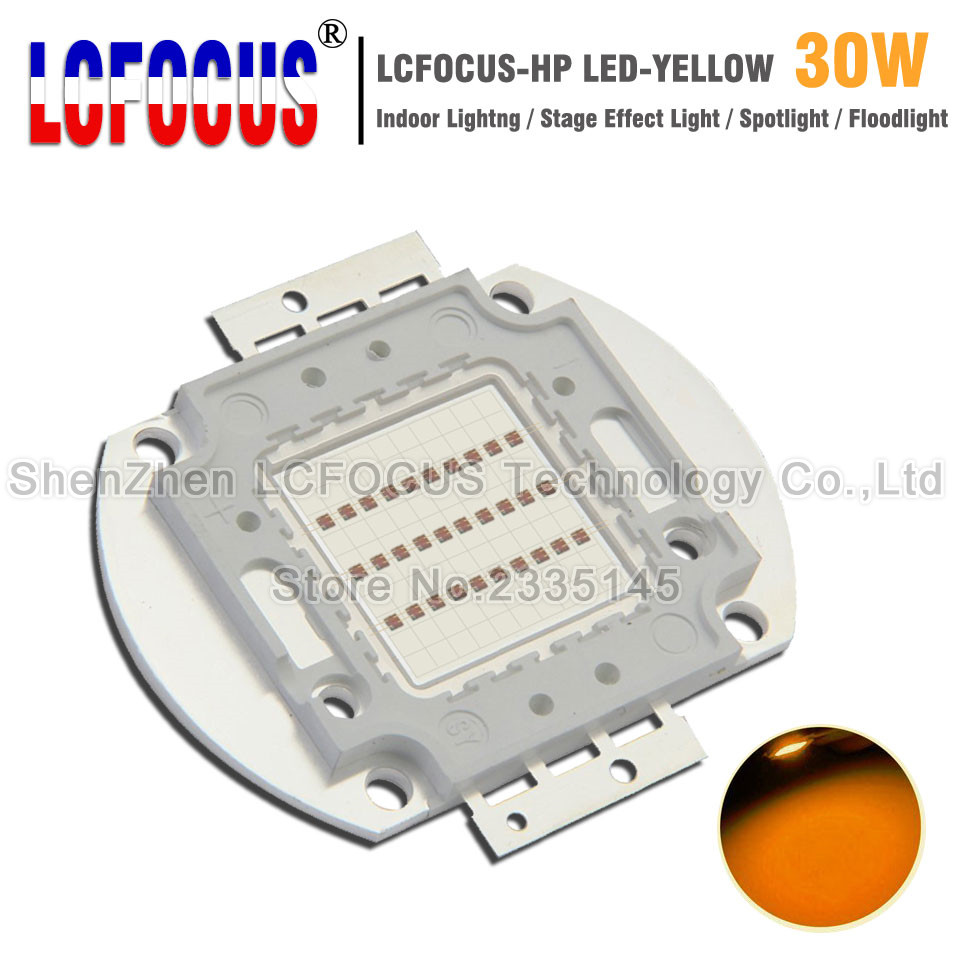High Power LED Chip 30W Yellow 590-595nm Super Bright SMD COB Diode For 30W Watt Floodlight Spotlight Bulb Lamp