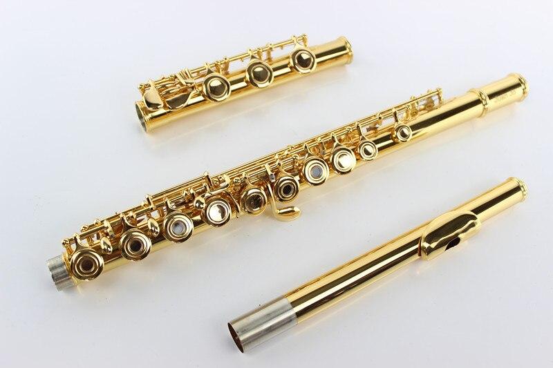 Nouveau Logo personnalisé cuivre flûte plaqué or boutons 17 trous ouvert professionnel flûte en métal C ton + étui rigide