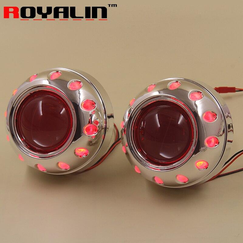 ФОТО Car Styling 2.5'' Bixenon Projector Lens HID H1 Mini Lenses w/ Angel Eyes 95mm Red White Blue for H4 H7 Auto Lamps Retrofits DIY