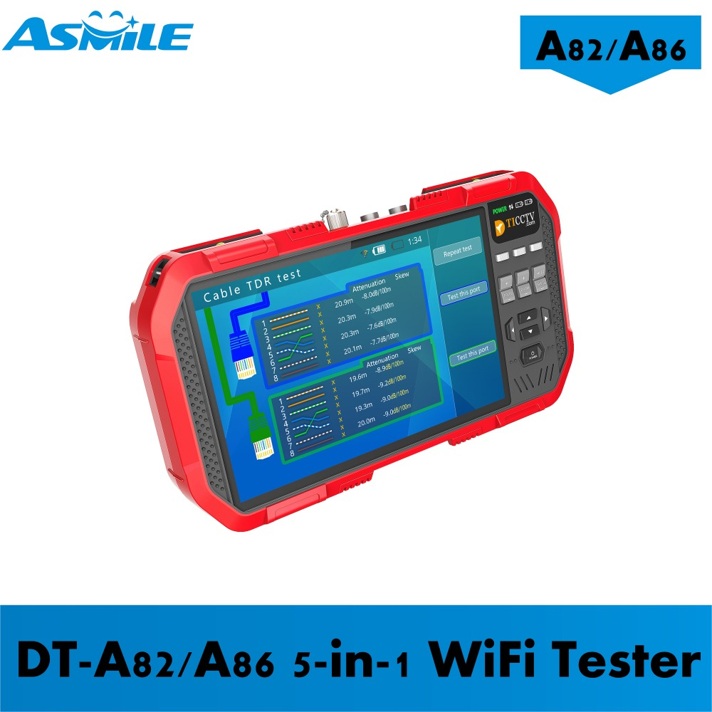 5 In 1 H.265 4K HD IP CCTV Tester Monitor AHD CVI TVI CVBS Camera Test 8MP ONVIF HDMI Input Multimeter Optical Fiber A82/A86
