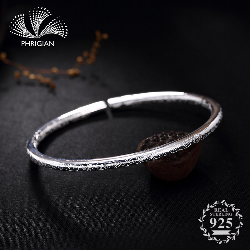 NOT FAKE S990 Fine Jewelry  925  Sterling Silver Bangle S925 Vintage Ethnic flower pattern totem Natural Women Luxury retro 925NOT FAKE S990 Fine Jewelry  925  Sterling Silver Bangle S925 Vintage Ethnic flower pattern totem Natural Women Luxury retro 925