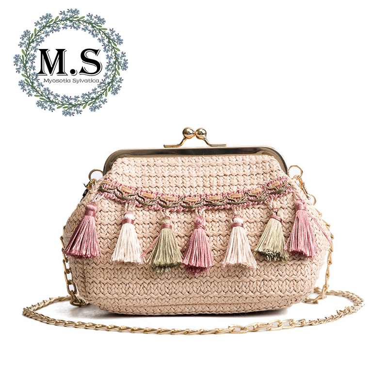 M.S Tassel Appliques Bohemian Hasp Straw Bags Women Beach Summer Shoulder Bags Vintage Casual Sweet Mini Knitting Handbags SW045