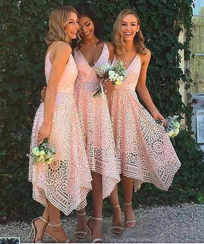 2019 New   Bridesmaid     Dresses   Pink Navy Blue Lace Irregular Hem V Neck Maid of Honor Country Wedding Party Guest Gowns