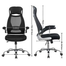 Office Chair Black Executive Ergonomic Swivel Mesh Computer High Back Padded Desk With Foldable Armrest