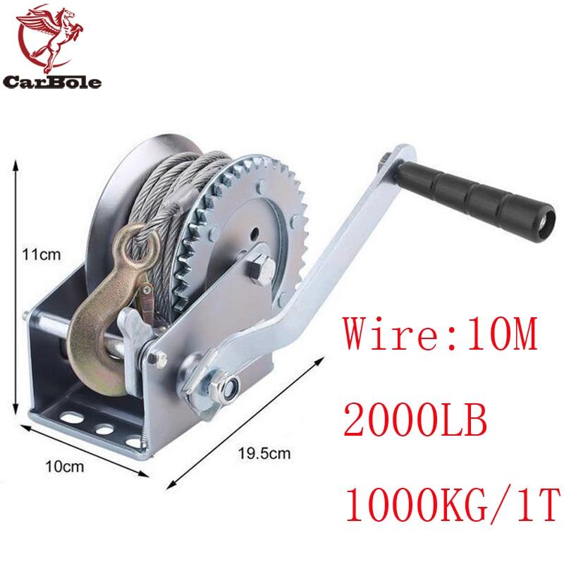 CARBOLE New 2000lb 1 Ton 10M Hand Winch Crank Strap Steel Gear Cable Wire Winch Boat ATV Jet Ski Trailer w/Hook Heavy Duty