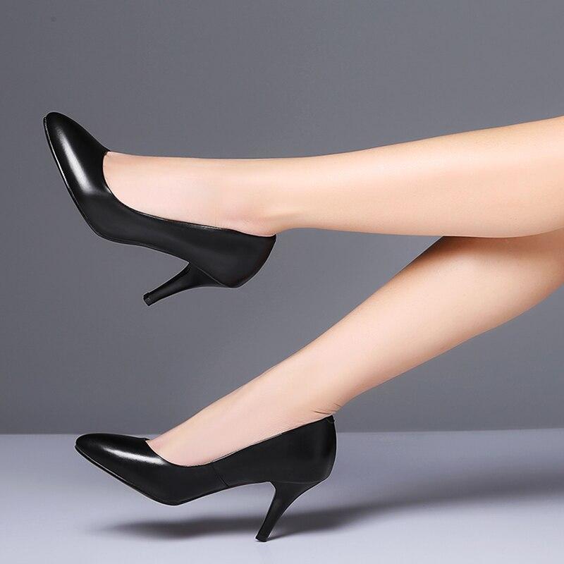2018 Femmes Simples Pleine Cuir rouge Noir En Talon Arrivée Fleur Nouvelle Haute Travail Chaussures Pompe Mince Noir Rouge 8qr8Z