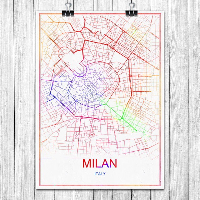 Milan italy famous colorful world city map print poster abstract milan italy famous colorful world city map print poster abstract coated paper bar cafe living room gumiabroncs Images