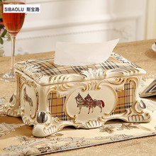 10″ Removable tissue box 10″ Luxury royal vintage Ivory ceramic table tissue box classic paper box househome decoration