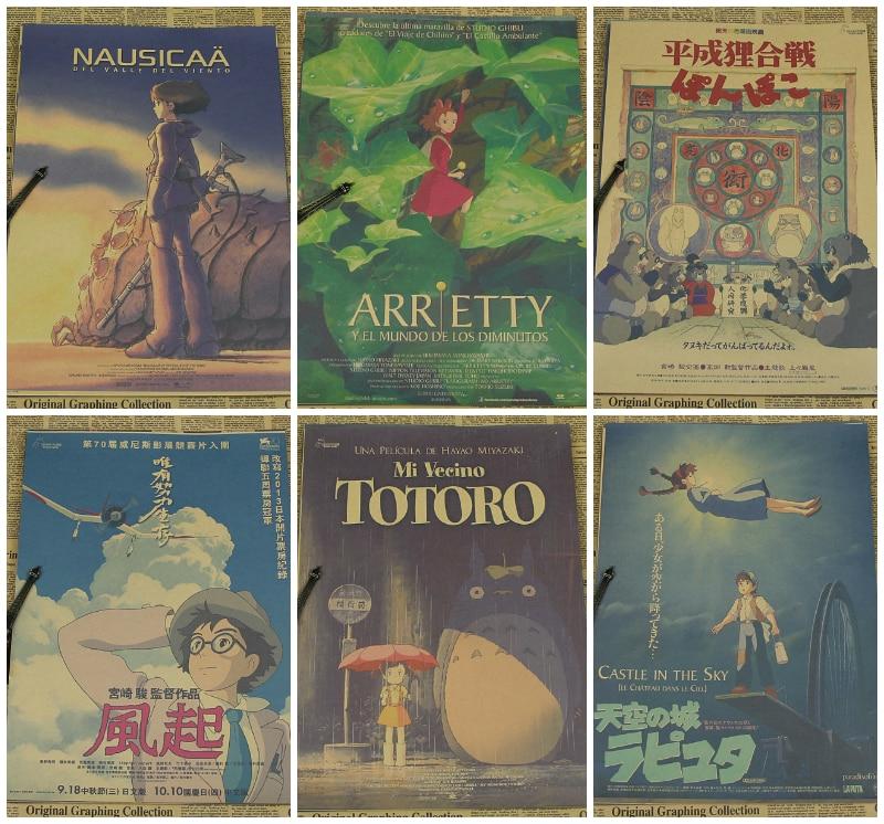 Miyazaki animācijas filmu filma kraftpapīra plakāta tapetes sienas uzlīme / garīgs prom Dekoratīvās gleznas Retro plakāts