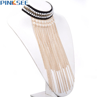 Gothic Maxi Tassels Necklaces Bib Collar Chunky Choker Long Chain Statement Necklaces 2017 New Fashion Pearl Beads Jewelry