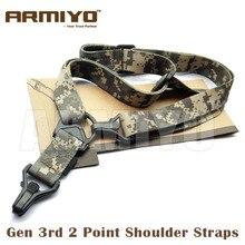 Armiyo misión táctica S3 2 puntos correa de hombro ajustable cabestrillo para Rifle cinturón de Nylon Clip de plástico accesorios de Monte caza