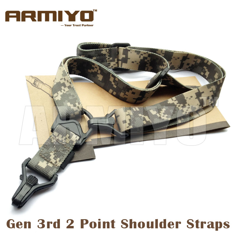 Armiyo Tactical Mission S3 2 Point Adjustable Shoulder Strap Gun Sling Rifle Nylon Belt Plastic Clip Mount Hunting Accessories