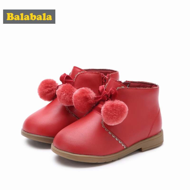 Balabala Toddler Girl Ankle Boots With Zip Closure At Side Velvet Lace-up Boots With Pom Pom For Children Kids With Lace Detail