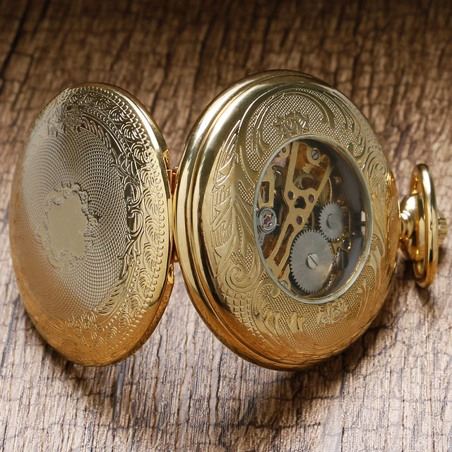 Luxury Gift Gold Pocket watch Vintage Pendant Watch Necklace Chain Antique Fob Watches Roman Number Clock Pocket Relogio bolso