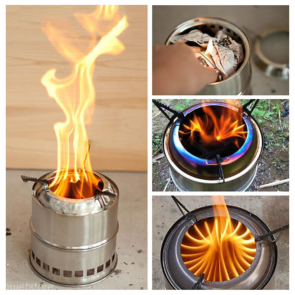 Lixada Outdoor Wood Stove Camping Stove Stainless Steel Portable Lightweight Wood Stove Cooking Picnic Camping Firewoods Stove in Outdoor Stoves from Sports Entertainment