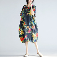 2017 New Plus Size Summer Women Dress Fashion Floral Print Loose Female Long Tops Casual Large