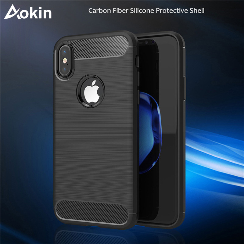 Aokin for iPhone X case Carbon Fiber Pattern Design Shell Soft TPU Manifest Personality Cover Anti-scratch for iPhone X Coque