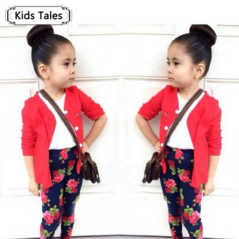 ST165 2015 autumn baby girl clothes fashion girl red cotton cardigan + T-shirt + flower pants 3 pcs kids clothes retail