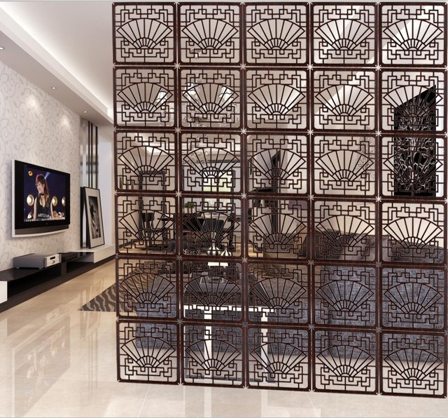 Living Room Wall Panels Divider Clical Imitation Wood Carved Folding Screen Porch Fashion Office Bedroom