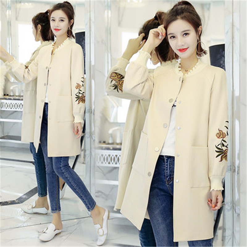 yellow Boutonnage Automne Pour Printemps Casual A1182 Tops Broderie Vêtements Mode Beige Simple blue Filles pink Vestes 2018 Femmes Et Manteaux w71n0x5qU