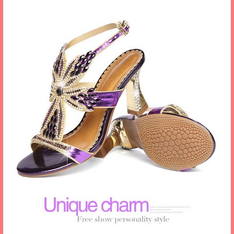 Cristal Banquet Femmes Nouveau Hauts golden De Mariage Pourpre Diamant Talons Élégant Mode Chaussures À Haute Strass 2018 Purple D'or AqxPXPZ