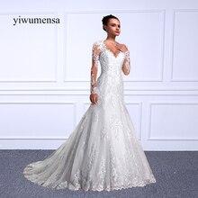 yiwumensa vestido de casamento Mermaid wedding dresses 2018 Full Long Sleeves Beads Wedding dresses vestido de noiva Bridal gown