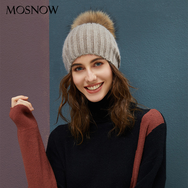 84afddcf52fa8 2018 Women s Winter Beanies For Ladies Classic Pom Pom Straight Hat Female  Warm Rabbit Knitted Hats
