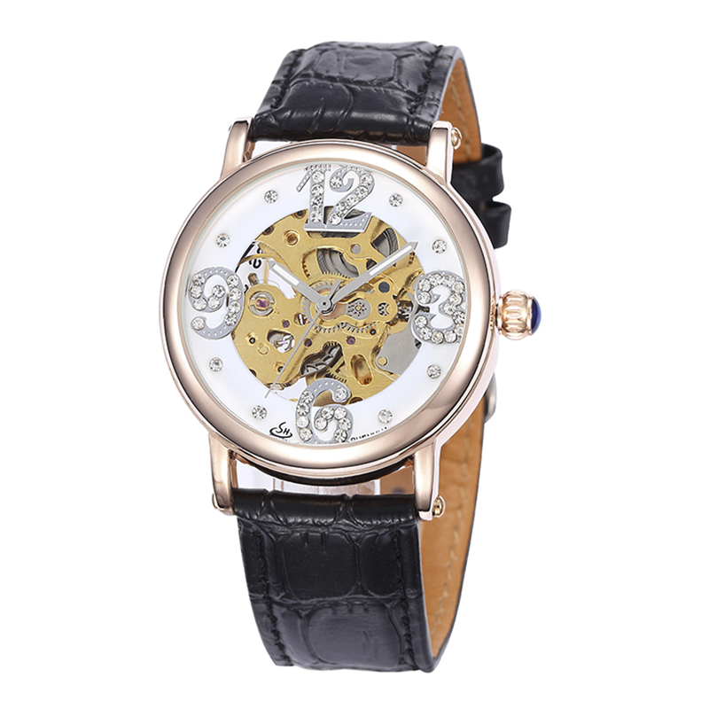 SHENHUA SH Brand Women Mechanical Watch Rose Gold Case Automatic Self Wind Mechanical Skeleton Wrist Watches For Women Ladies SHENHUA SH Brand Women Mechanical Watch Rose Gold Case Automatic Self Wind Mechanical Skeleton Wrist Watches For Women Ladies