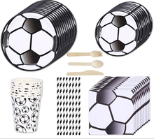 Serves 8 boy football theme birthday disposable party tableware dinnerware set supplies including paper plates cups