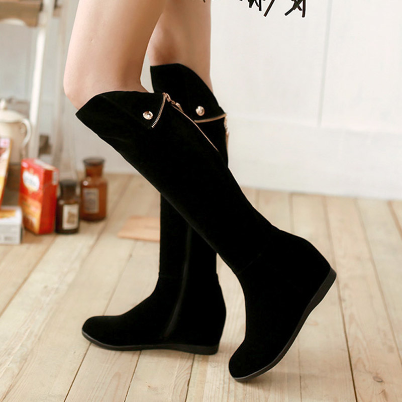 ФОТО New 2015 Women Nubuck Leather Knee High Wedges Boots Fashion Shoes Woman Winter Knight Boots H5737