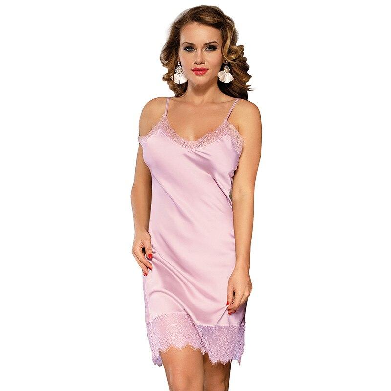Plus Size Silk V Neck Lace Sleepwear Lingerie Women Sleeveless Satin Nightwear Sexy 5XL Nightgown Dress Patchwork Pajama RS80772