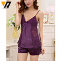 XMWEIPING Ladies Summer Sexy Silk Satin Pajamas Set Sleeveless 2 PCS Pyjama Set V-neck Lace Women's Sleepwear Fashion Nightwear