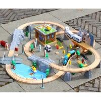 95 шт. Магнитные деревянные литье под давлением набор путей для поезда и станции Мост Аксессуары модель железной дороги игрушки игрушечные т