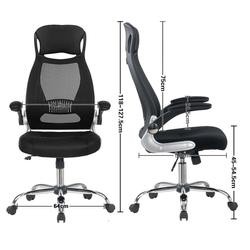 Office Chair Black Ergonomic Swivel Mesh Task Chair High Back Padded Desk Chair With Foldable Armrest Head Support Adjustable