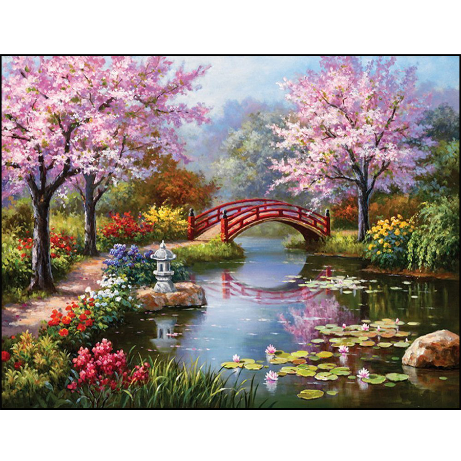 5D DIY Diamond Embroidery Garden Scenery Full Square Diamond Painting Cherry Blossom Bridge Cross Stitch Crystal Mosaic Picture5D DIY Diamond Embroidery Garden Scenery Full Square Diamond Painting Cherry Blossom Bridge Cross Stitch Crystal Mosaic Picture