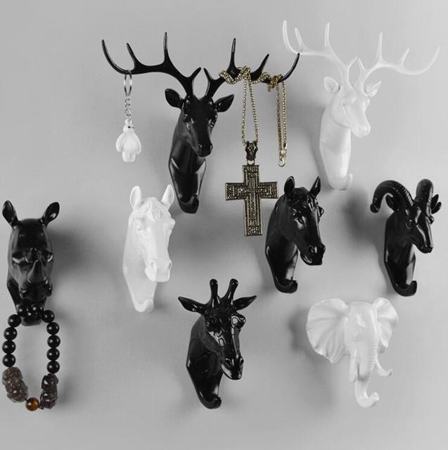Creative Deer Head Animal Decorative Hook Coat Retro Clothes Hanging Three Dimensional Porch Key