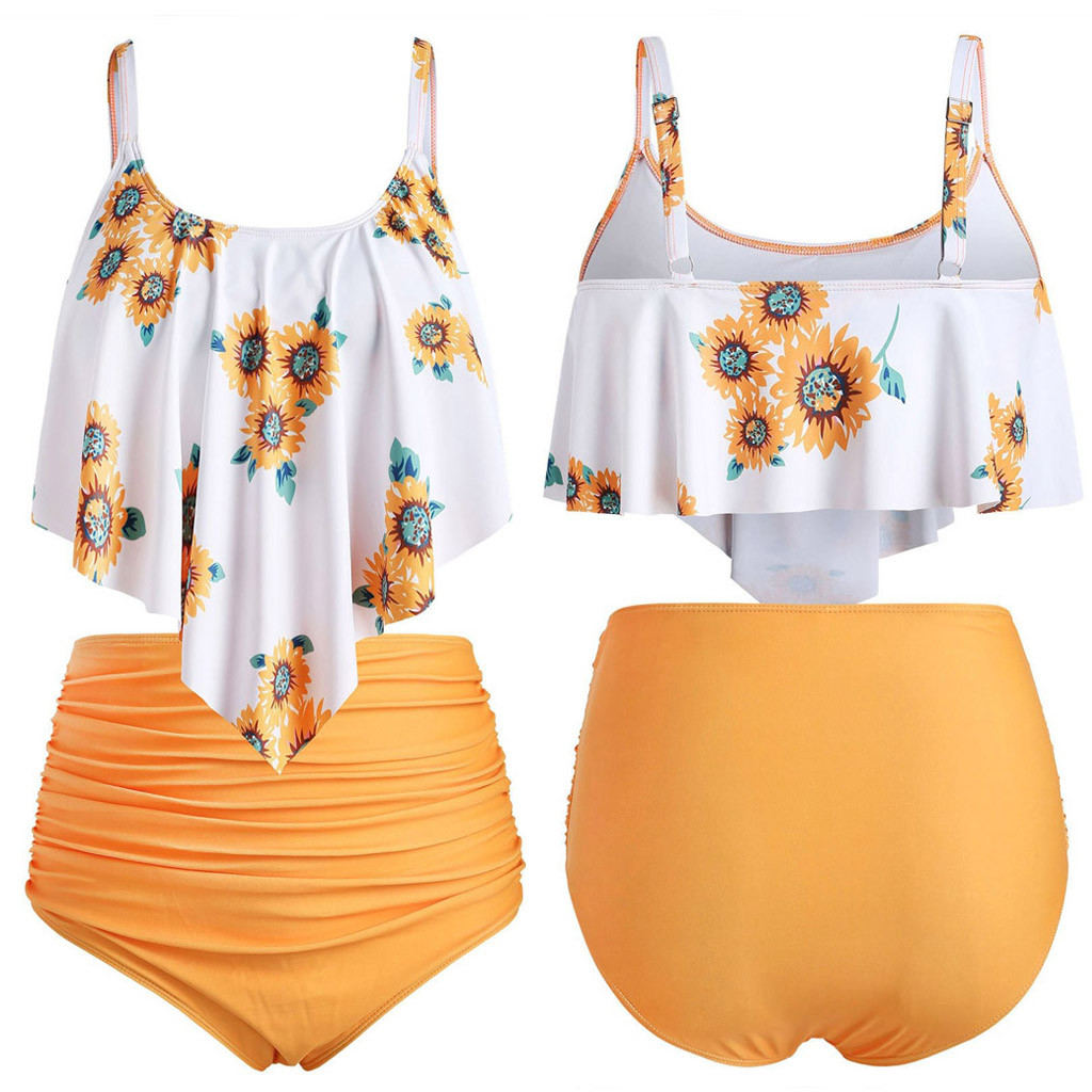 Women Two Pieces Solid Orange Bottom Print Top Flounce Bathing Suits Ruffled With High Waisted Bikini Sets Summer Beach Swimsuit