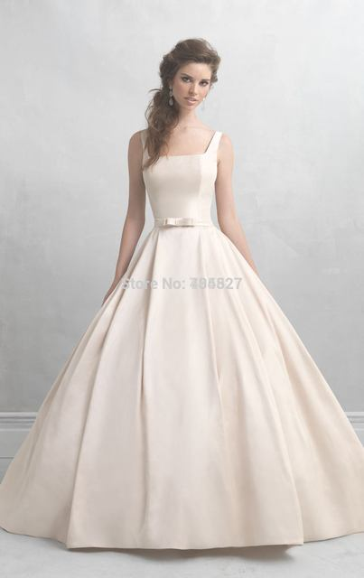Nitree Timeless Wedding Dresses 2016 Ball Gown Square Bow Sash Narrow Straps On Court Train Backless