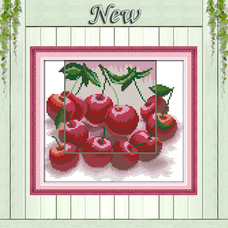 Flowers /& Cherry Pattern Stamped Cross Stitch Kits 14CT Cloth Embroidery Kit