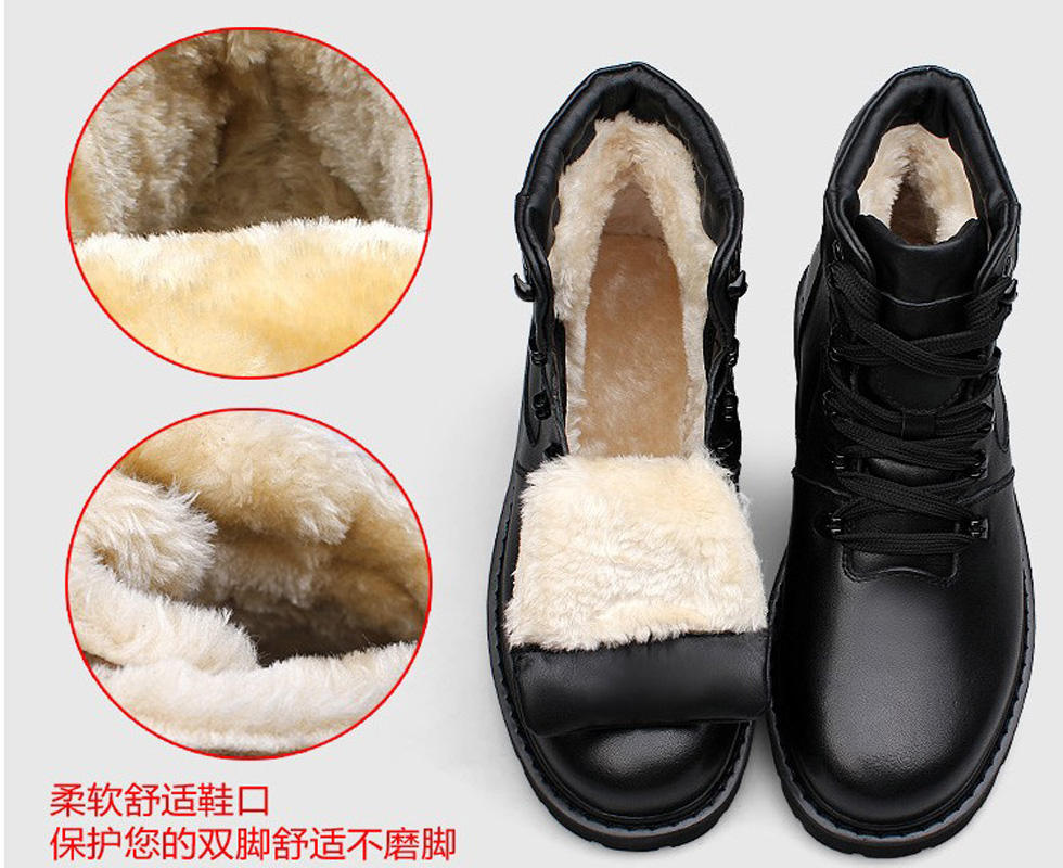 2017 Men's Waterproof Combat Snow Boots Genuine Leather Warm Rabbit Fur Men Winter Military Boots Cowboy Botas Hombre Masculino zipower pm 4161